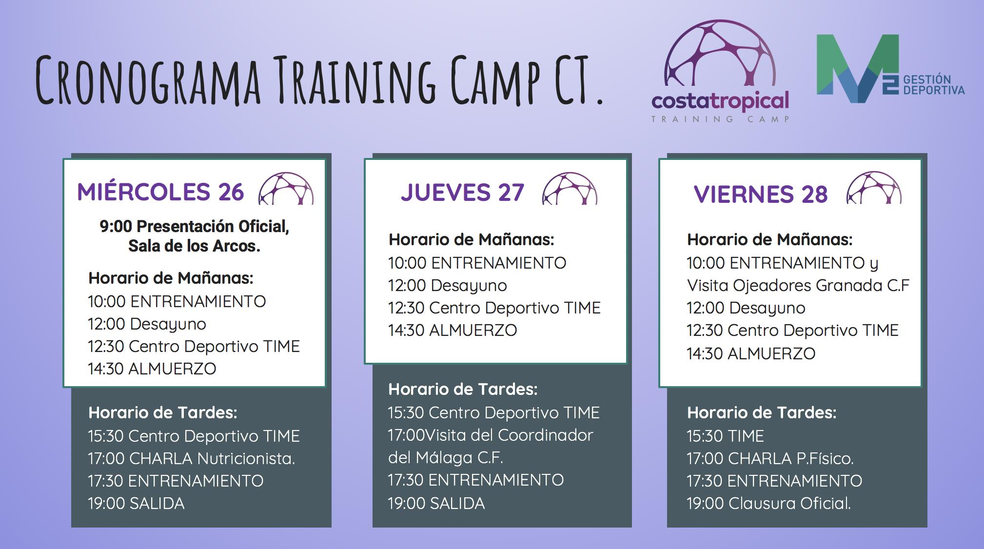 Cronograma Training Camp CT